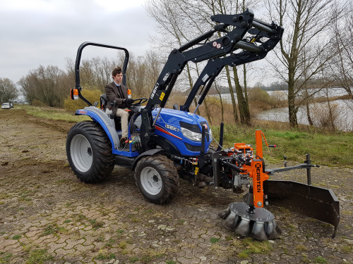 Front Mounted weed brush on Iseki tractor fitted with front linkage and PTO kit